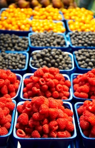 Raspberries, blueberries and cape gooseberries