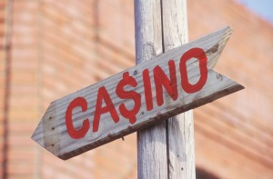 Close-up of a signboard of a casino, Texas, USA