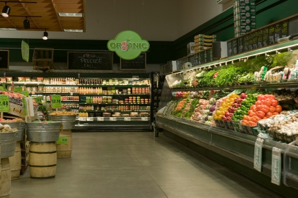Organic produce aisle in supermarket