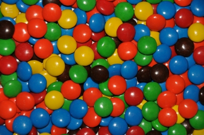 Close-up overhead view of colorful M&M candy.