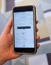 Uber app displaying on smartphone